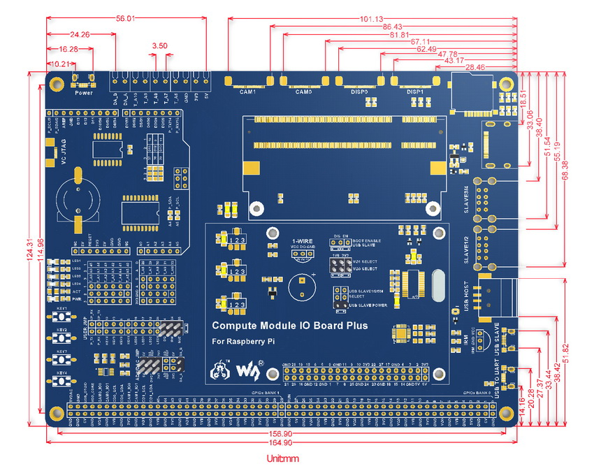 Raspberry Pi IO Board Dimensions