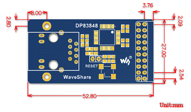 dp83848-ethernet-board-size